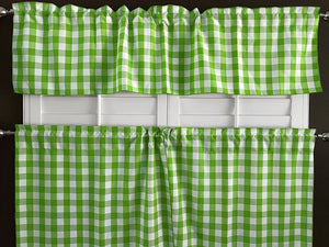 Poplin Gingham Checkered 2 Piece Window Valance Set (18 different colors)