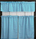 Cotton Curtain Zig-zag Chevron Print / 3 Piece Window Valance Set (10 Colors)