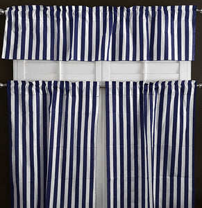 Cotton Stripes 3 Piece Window Valance Set (11 Colors)