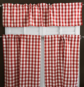 Poplin Gingham Checkered 3 Piece Window Valance Set (18 different colors)
