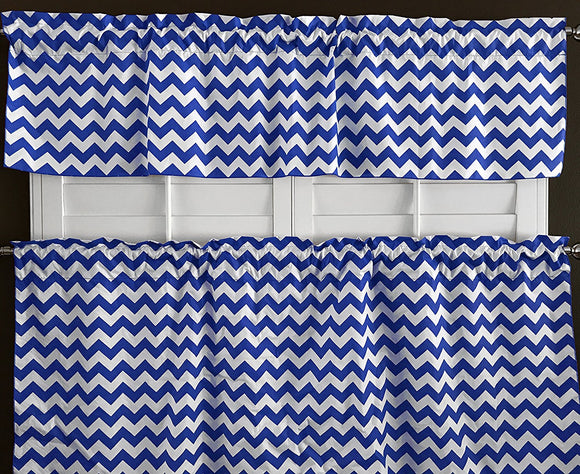Cotton Zig-zag Chevron 2 Piece Window Valance Set (10 Colors)