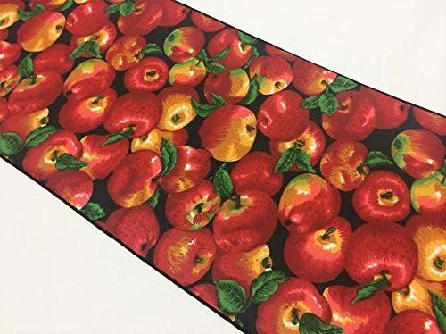 Cotton Print Table Runner Fruits Apples Allover on Black