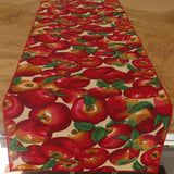 Cotton Print Table Runner Fruits Apples Allover on Beige