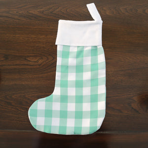 Christmas Stocking Poplin Gingham Check with Flannel Cuff Pack of 2