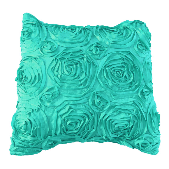 Satin Rosette Decorative Throw Pillow/Sham Cushion Cover Aqua