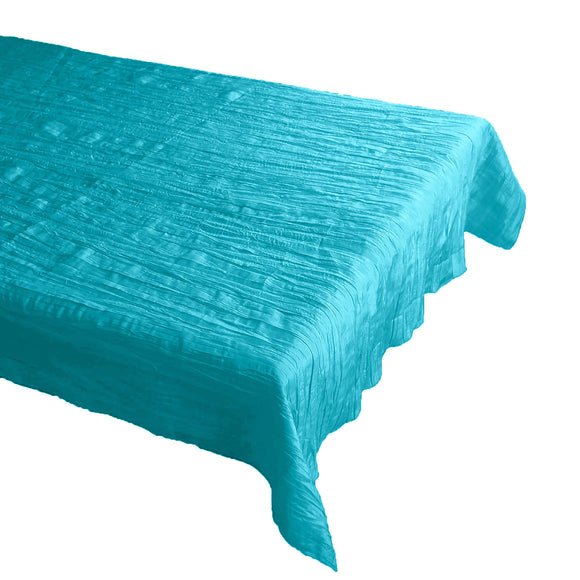 Crinkle Style Crushed Taffeta Tablecloth Aqua