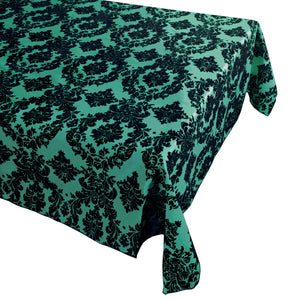 Flocking Damask Taffeta Tablecloth Aqua Green