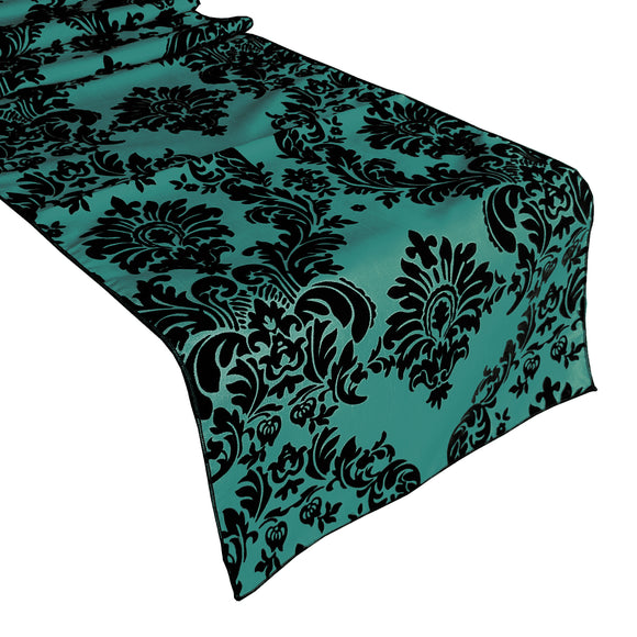 Flocked Damask Table Runner Aqua Green
