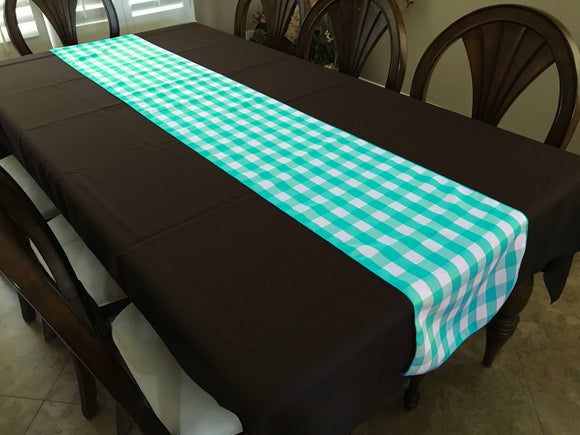 Poplin Table Runner Gingham Checkered Aqua