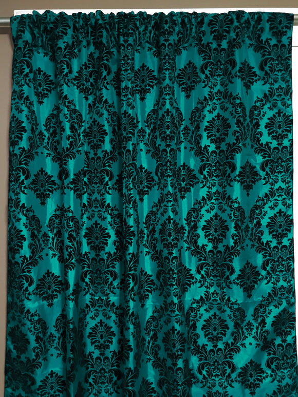 Flocking Damask Taffeta Window Curtain 56 Inch Wide Green Teal