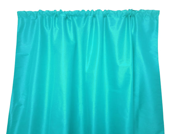 Faux Silk Solid Dupioni Window Curtain 56 Inch Wide Aqua