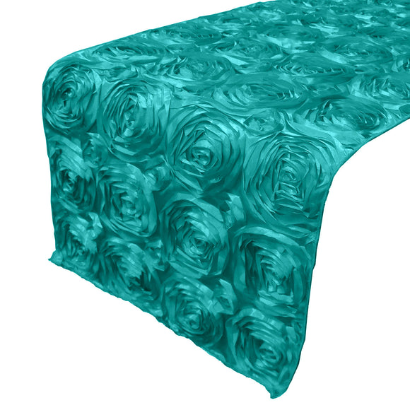 Satin Rosette Table Runner Raised Roses Aqua