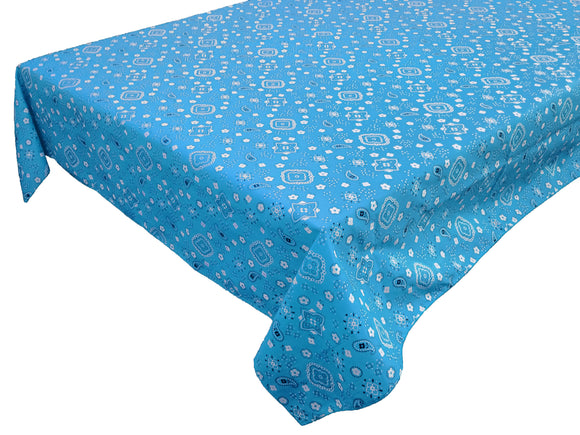 Cotton Bandanna Tablecloth Turquoise