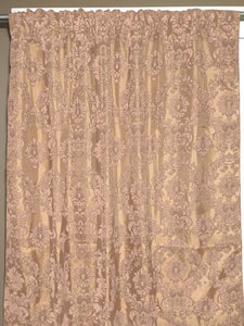 Flocking Damask Taffeta Window Curtain 56 Inch Wide Beige on Beige