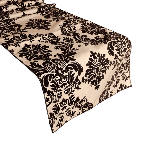 Flocked Damask Table Runner Black on Beige