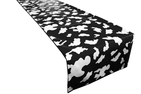 Cotton Print Table Runner Animal Cow Spots White on Black