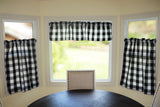 "Poplin Buffalo Checkered 3 Piece Set Window Valance 58"" Wide Black and White"