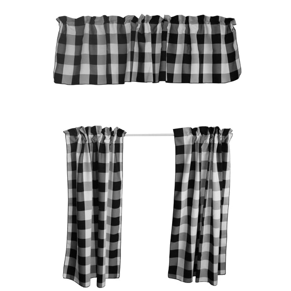 Poplin Buffalo Checkered 3 Piece Set Window Valance 58