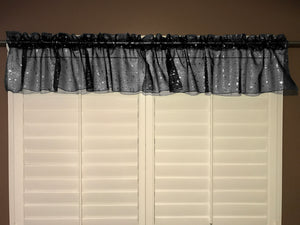 "Silver Stars on Sheer Organza Tinted Window Valance 58"" Wide Black"