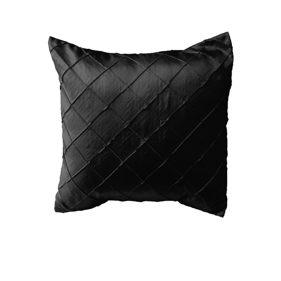 Pintuck Taffeta Decorative Throw Pillow/Sham Cushion Cover Black