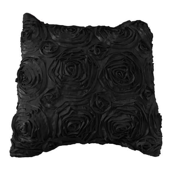 Satin Rosette Decorative Throw Pillow/Sham Cushion Cover Black