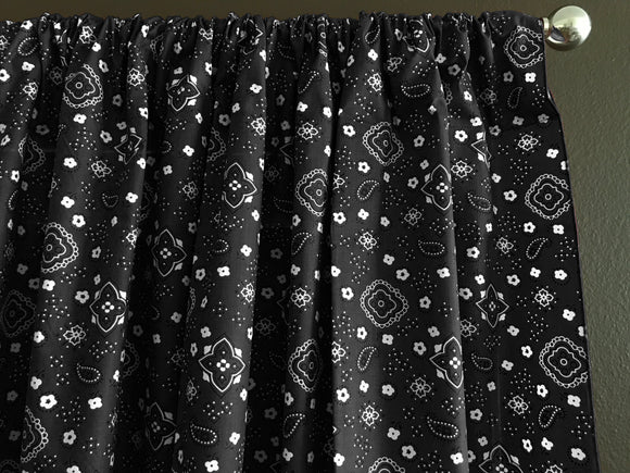 Cotton Bandanna Window Curtain 58 Inch Wide Black
