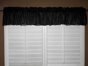 "Crinkle Taffeta Window Valance 52"" Wide Black"
