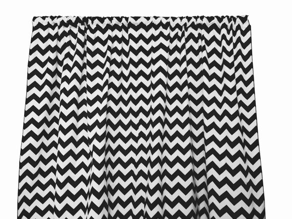 Cotton Zig-zag Chevron Window Curtain 58 Inch Wide Black