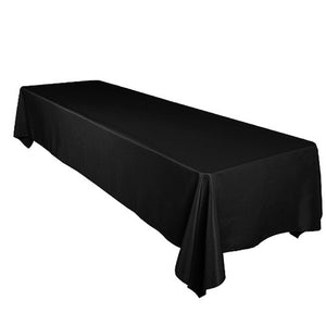 Shiny Satin Solid Tablecloth Black