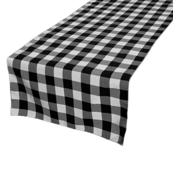 Poplin Table Runner Gingham Checkered Black