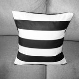 Cotton 2 Inch Stripe Decorative Throw Pillow/Sham Cushion Cover Black & White