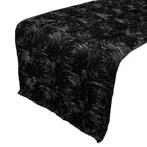 Satin Rosette Table Runner Raised Roses Black