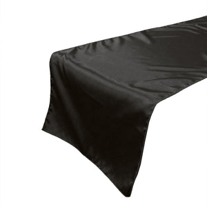Shiny Satin Table Runner Solid Black