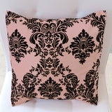 Flocked Damask Decorative Throw Pillow/Sham Cushion Cover Black on Beige