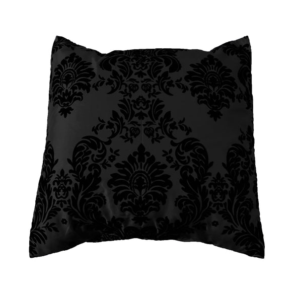 Flocked Damask Decorative Throw Pillow/Sham Cushion Cover Black on Black