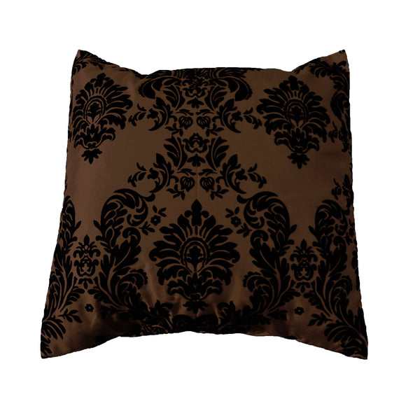 Flocked Damask Decorative Throw Pillow/Sham Cushion Cover Black on Brown