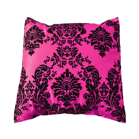 Flocked Damask Decorative Throw Pillow/Sham Cushion Cover Black on Fuchsia