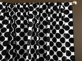 Cotton Polka Dots Window Curtain 58 Inch Wide Large Dots Black on White