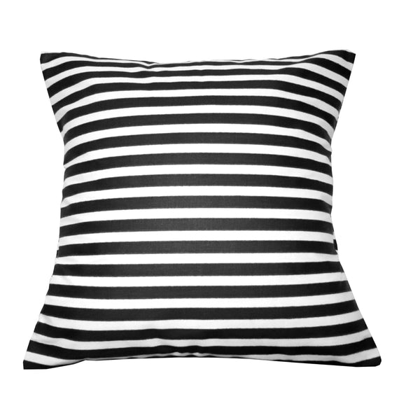 Cotton 1/2 Inch Stripe Decorative Throw Pillow/Sham Cushion Cover Black and White