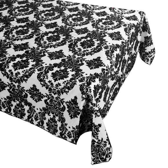Flocking Damask Taffeta Tablecloth Black on White