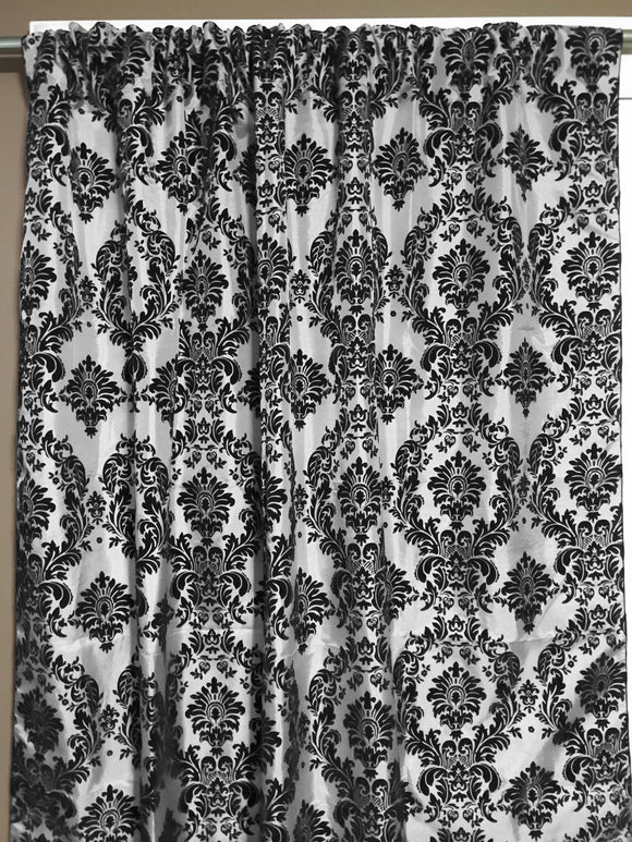Flocking Damask Taffeta Window Curtain 56 Inch Wide Black on White