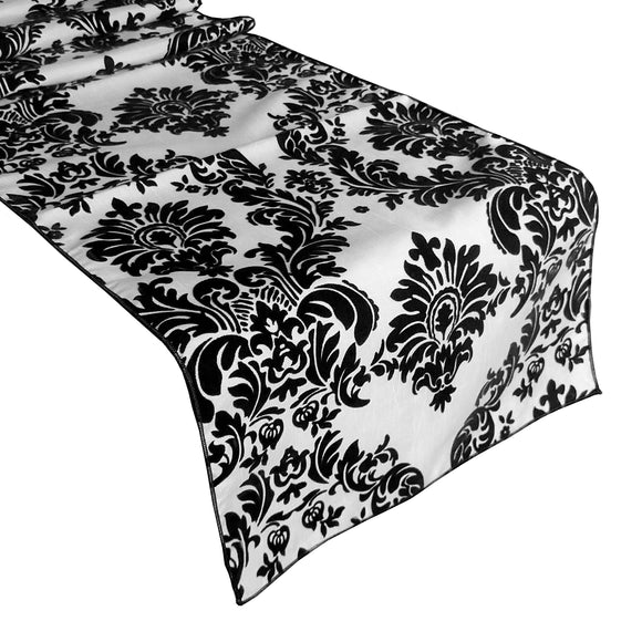 Flocked Damask Table Runner Black on White