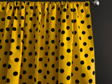 Cotton Polka Dots Window Curtain 58 Inch Wide Black on Yellow