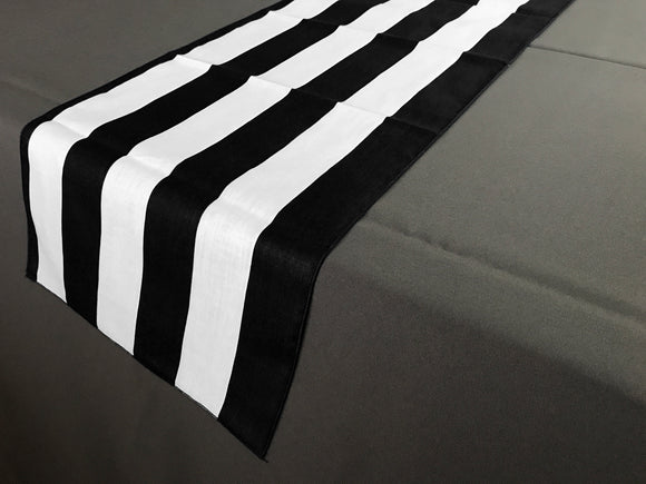 Satin Stripe Table Runner 2 Inch Wide Stripes Black and White