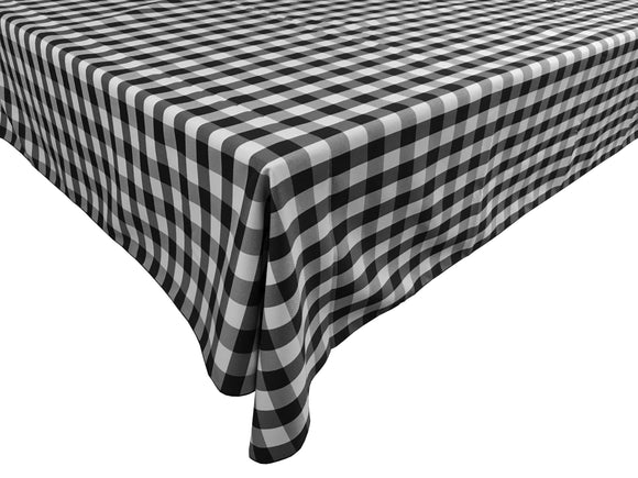 Poplin Gingham Checkered Plaid Tablecloth Black