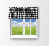 "Cotton Gingham Checkered Window Valance 58"" Wide Black"