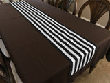 Cotton Print Table Runner 1 Inch Wide Stripes Black and White