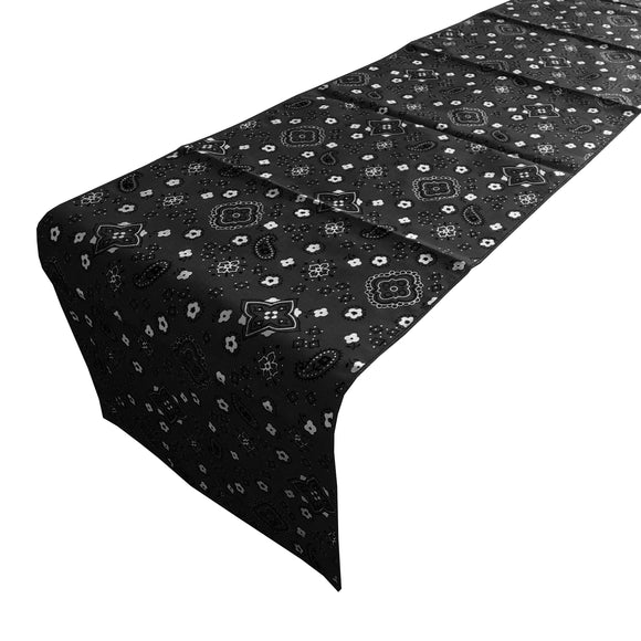 Cotton Print Table Runner Paisley Bandanna Black