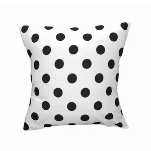 Cotton Polka Dots Decorative Throw Pillow/Sham Cushion Cover Black On White