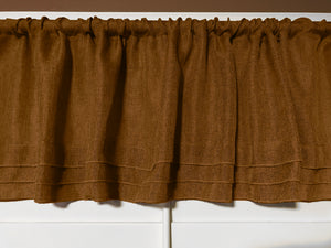 "Faux Burlap Window Valance 58"" Wide with Pleated Ruffles Bronze"
